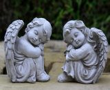 Lanier 2 Piece Resting Angel Stone Garden Statue Set (Set of 2)