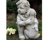 Leary Boy with Puppy Stone Garden Statue