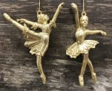 Set of 2 Gold Glitter Ballerina Christmas Tree Decorations