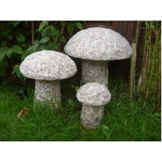 Set Of 3 Granite Mushrooms