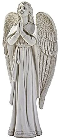 Design Toscano Divine Guidance Praying Guardian Angel Religious Garden Statue, Medium, 34.5 cm, Polyresin, Antique Stone