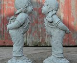 ONEFOLD - KISSING BOY & GIRL - JACK AND JILL HAND CAST STONE GARDEN ORNAMENT/STATUE/SCULPTURE