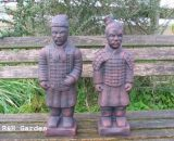 PAIR OF ORIENTAL WARRIORS GARDEN ORNAMENTS - FREE P&P
