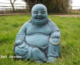 LARGE LAUGHING BUDDHA GARDEN ORNAMENT - TURQUOISE - FREE P&P