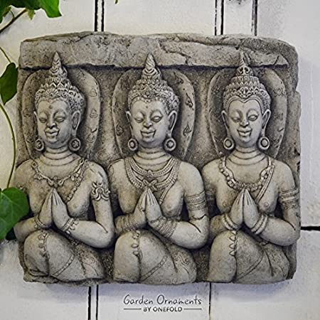 ONEFOLD - THREE BUDDHA WALL PLAQUE - HAND CAST STONE GARDEN ORNAMENT/STATUE/SCULPTURE/THAI/KOI