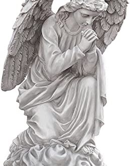Design Toscano Praying Basilica Angel Kneeling Outdoor Garden Statue, Polyresin, Antique Stone, 66 cm