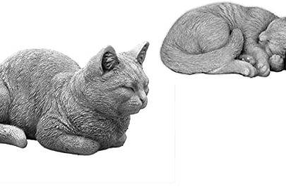 gartendekoparadies.de Solid Decorative Garden Stone Cats Set Room Decorative Figure Cast Stone Frost Resistant