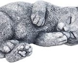Garden ornament dreaming cat Minka, handcrafted, solid stone, frost- and weatherproof up to 30°C