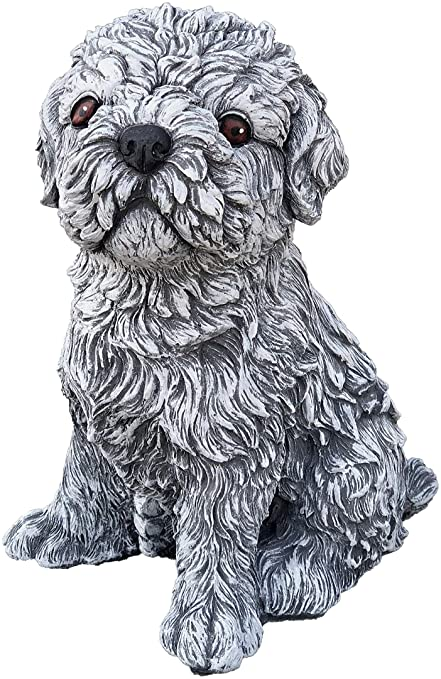 Stone figurine Shih Tzu handmade frost-proof Made in Germany